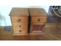 2 x pine oak coloured bedside tables