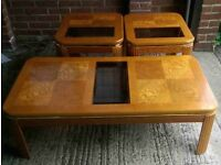 Coffee table & matching side tables