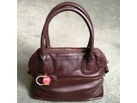 Yoshi Handbag (Dark Brown Leather with Patterned Interior) and Dust Cover