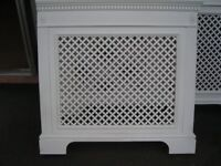 Radiator Cabinet Cover in White Painted Wood. Good Condition