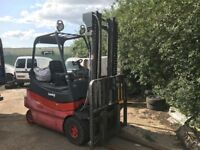 Lansing linde battery forklift works but requires battery charger