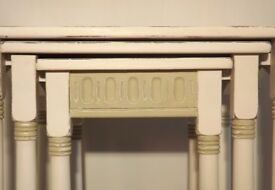 Hand painted solid wood nest of tables white and mocha with stripe detailing