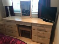 Sharps dressing table, stool, mirror and bedside draw unit