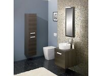 Bauhaus Design Wall Hung Bathroom Tower Storage Unit, Panga 2 Door, RRP £470+