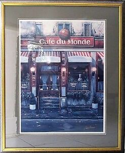 LOUIS ROBICHAUD CANADIAN ARTIST PRINT OF CAFE $400 OBO
