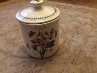 Portmeirion Botanic Garden large ceramic storage pot with lid.