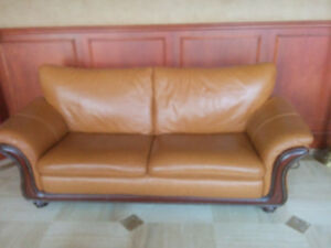 Moving sale living room set leather tan color with wood
