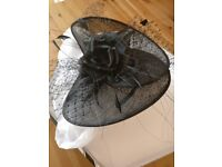 Ladies Hat in Black with net and feathers and black rose - from Maddox