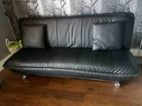 Black real leather Bed settee sofa 3 seater as new