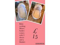 Baby Moses rocking basket with stand and 3 sheets and a blanket
