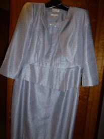 Precis Petite Dress and Jacket Silver/Grey embellished at collars size 16 - ideal for a wedding