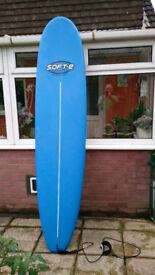 surfboard 8ft soft top, fins, leash and bag