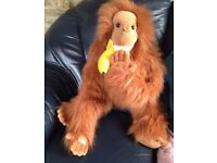 ORANGUTAN PUPPET WITH BANANA - 79 cm long from a Pet and Smoke Free Home *Like new*