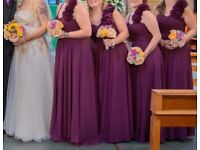 4x purple bridesmaid dresses