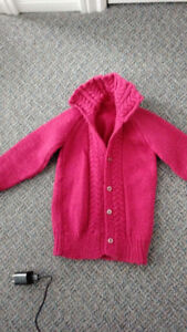 HAND KNIT HOT PINK CABLEKNIT CARDIGAN 3T