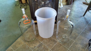 2 - 23 LITRE GLASS WINE CARBOYS, AIRLOCKS, PRIMARY, CARRY HANDLE
