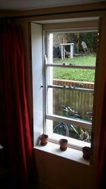 REDUCED - long red curtains floor length 2 pairs of 2 curtains