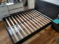 Faux leather double bed frame + mattress