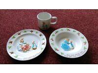 Peter Rabbit ceramic plate, bowl and cup set