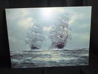 Henry Scott seascape - 2 galleons on a rough sea stretched canvas