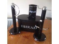 Kitchen set - bread bin, mug tree, utensil tin & roll holder