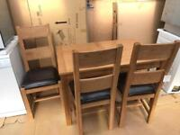 Ex display oak dining table & 3 chairs like new RRP £450