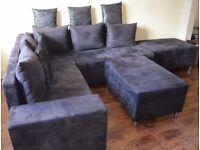 Corner sofa, dark navy blue