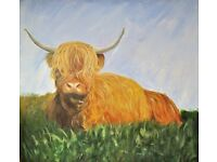 very large original painting of a highland cow painted by self representing artist