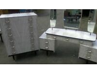 WOW gorgeous 1960s Melamine dressing table,drawers and continental headboard set