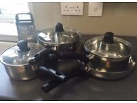 4-Piece Pots & Pans Stainless Steel Set with Free Grater!