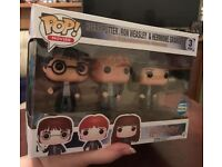 Harry Potter 3 triple pack rare funo pop figures, rare hard to find Harry Ron hermione
