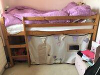 Shorty pine wood mid sleeper children's bed