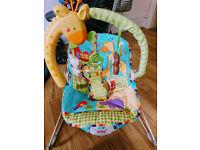 BABY BUNDLE: bouncy chair, mahogany crib, bath with bath seat
