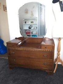 Vintage Dressing Table/ Chest of Drawers with mirror