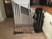 Golf clubs-LEFT HAND Full set of clubs-Driver, 3, 5 & 7 Woods, Irons, Putter, Golf bag, glove & more