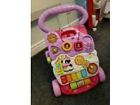 V Tech first baby walker in pink