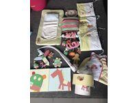 Mamas and papas gingerbread nursery set bumper curtains tiebacks light side cot mobile clock toys