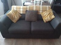 DFS two 2-seater grey fabric sofas