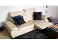 Cream 2-3 seater genuine leather sofa (very good condition)