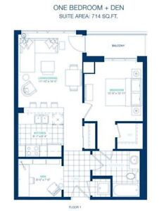 Brand NEW 714 SQ FT condo 1 bedroom + den available Dec 17/17