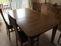 Dining Room Table and 6 leather based chairs, wall mirror and sideboard