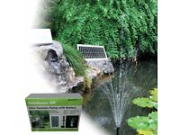 Solar pond fountain - 400 litre pump, battery back up, LED lights for evenings, up to 140cm fountain