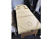 Massage couch with accessories and storage bag + 2 extra head rests and new couch roll