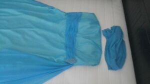 Beautiful Aqua Blue Dress with Matching Shawl
