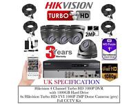 4 Cameras HikVision Turbo-HD CCTV KIT, 4CH Turbo-HD DVR, 4x HikVision 2MP Dome Cameras