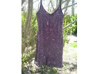 ladies lined purple dress with beads and sequins size 14 Glamour label