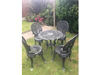 Vintage Cast Metal Bistro Garden Table & Chairs