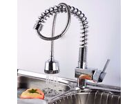 Kitchen Sink Mixer Tap Pull Out Spray Chrome Polished Spring Neck good