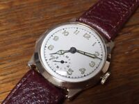 Vintage solid 9k 9ct gold WW2 1945 mens swiss watch with box