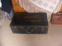 vintage black leather travel trunk for sale